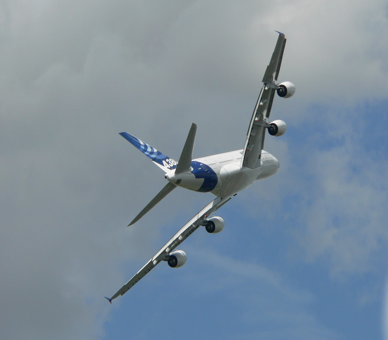 A380 BANKING SHARPLY IN FLIGHT
