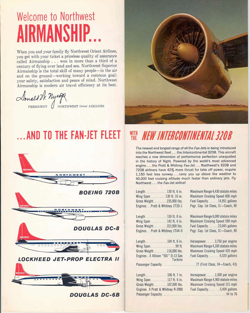 northwest airlines vintage magazine ad from the 1950s 1960s