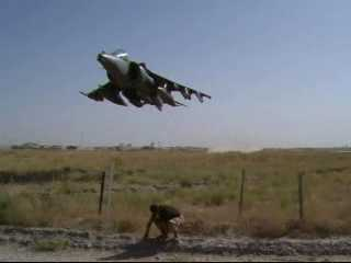 Harrier Aircraft Low Flyby over British Troop