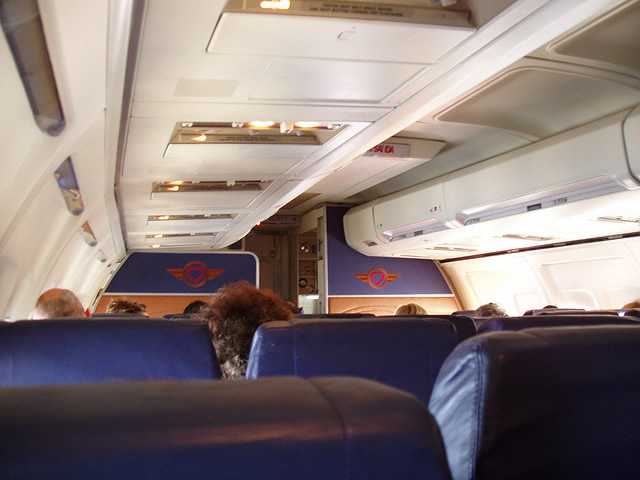 southwest airlines interior view of seats on boeing 737