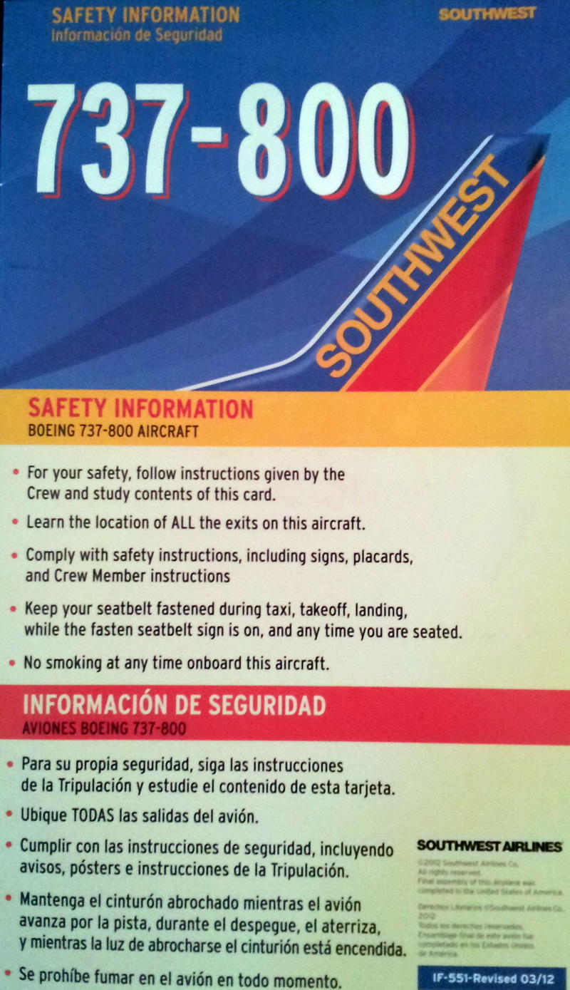 Southwest airlines aircraft seatmaps airline seating maps and southwest airlines boeing 737 800 safety card buycottarizona