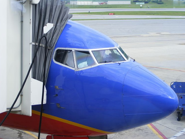 southwest airlines closeup nose shot