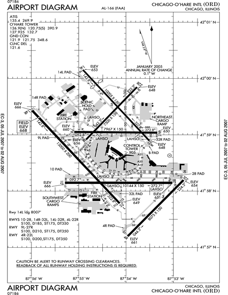 World airport maps and illustrations of international airports faa pilot book airport chicago ohare airport map ccuart Images